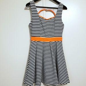 Sweetheart Striped Open Back Dress